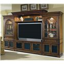 Hooker Furniture Brookhaven Three Door TV Console - Shown with Left and Right Piers, Back Panel, Light Bridge, and Shelf