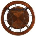 Hamilton Home Brookhaven Round Cocktail Table - Decorative Metal Accent Under Glass Top