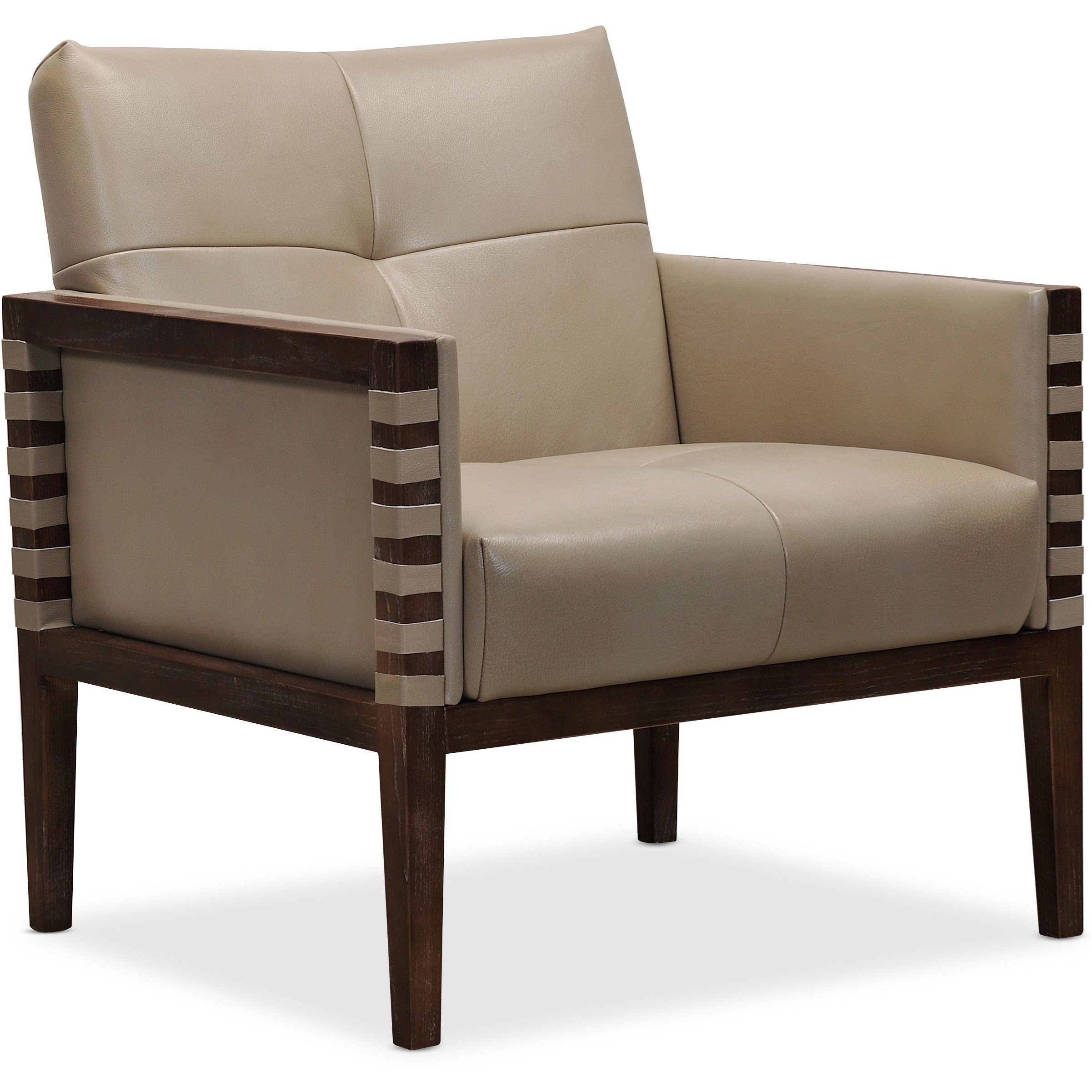 Carverdale Leather Club Chair w/ Wood Frame by Hooker Furniture at Miller Waldrop Furniture and Decor