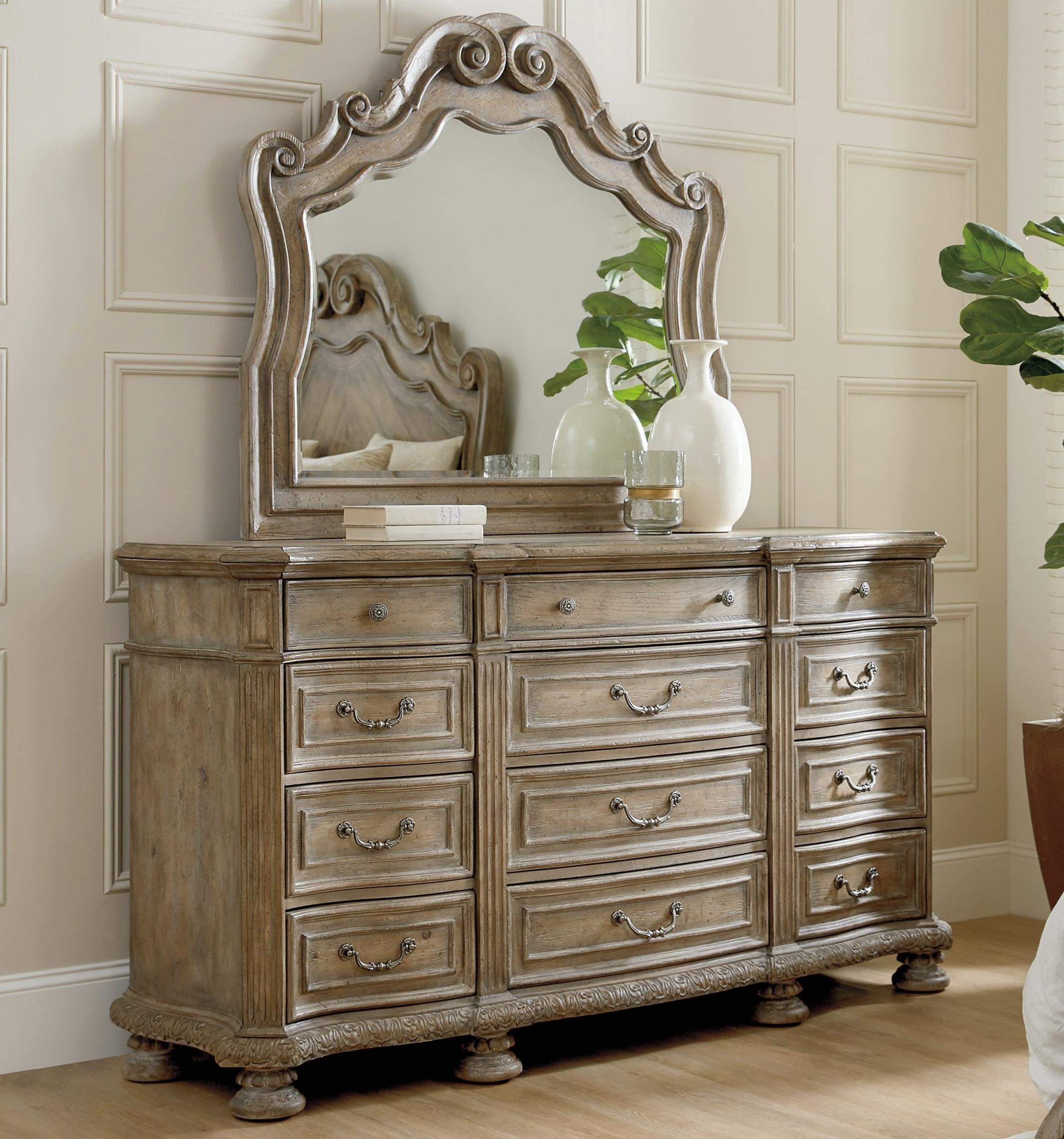 Castella Dresser and Mirror Set by Hooker Furniture at Stoney Creek Furniture