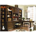 Hooker Furniture Cherry Creek  Wall Desk and Hutch Combo - Shown with Lateral File, Open Hutch, and Partner\'s Desk