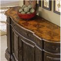 Hooker Furniture Chests and Consoles Hand Painted Black Serpentine Credenza - 731-85-124 - The Walnut Parquet Top Contrasts Against the Black Finish