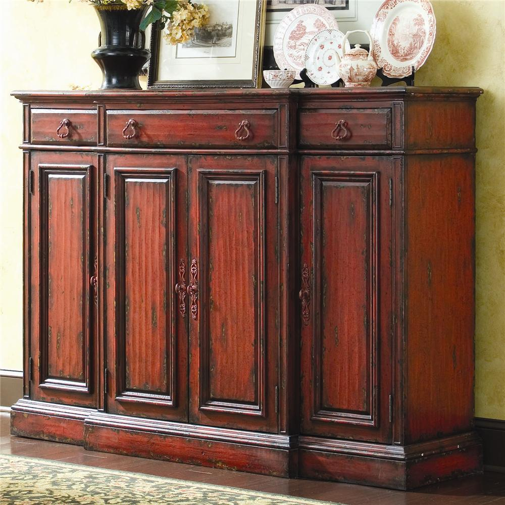Chests And Consoles Tall Waisted Breakfront Credenza By Hooker Furniture