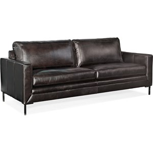 Leather Stationary Sofa