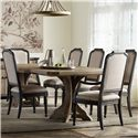 Hamilton Home Corsica Rectangle Pedestal Dining Table Set - Item Number: 5180-75206+2X5280-75401+4X75411