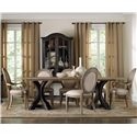 Hooker Furniture Corsica Rectangle Pedestal Dining Table Set with Oval Back Chairs