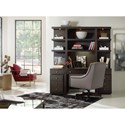 Hooker Furniture Curata Wall Desk with Lighted Hutch - Shown with Mobile File Cabinets