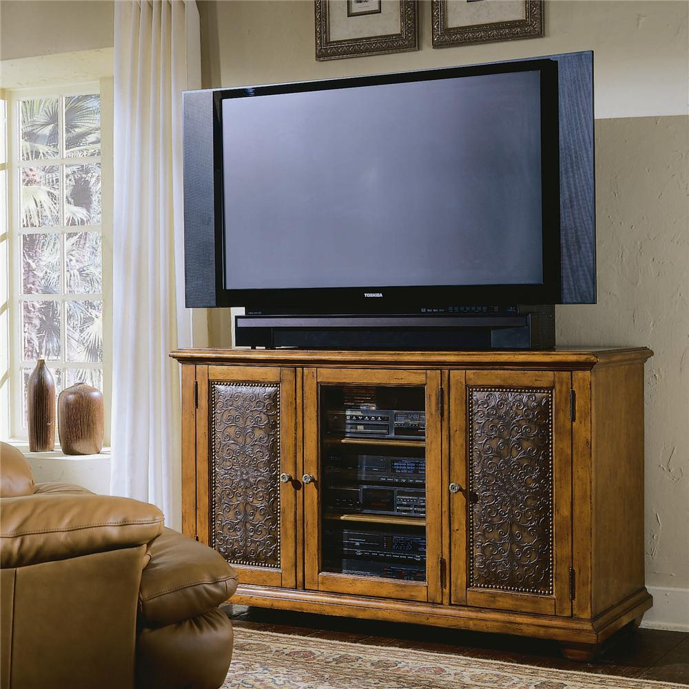 Hamilton Home Decorator Group Plasma Console - Wood W/Leather - Item Number: 371-55-457