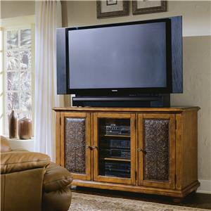 Hooker Furniture Decorator Group Plasma Console - Wood W/Leather