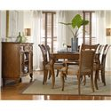 Hooker Furniture Windward Rectangular Leg Dining Table with (1) 18-Inch Extension Leaf - Shown with Raffia Arm and Side Chairs, and Buffet