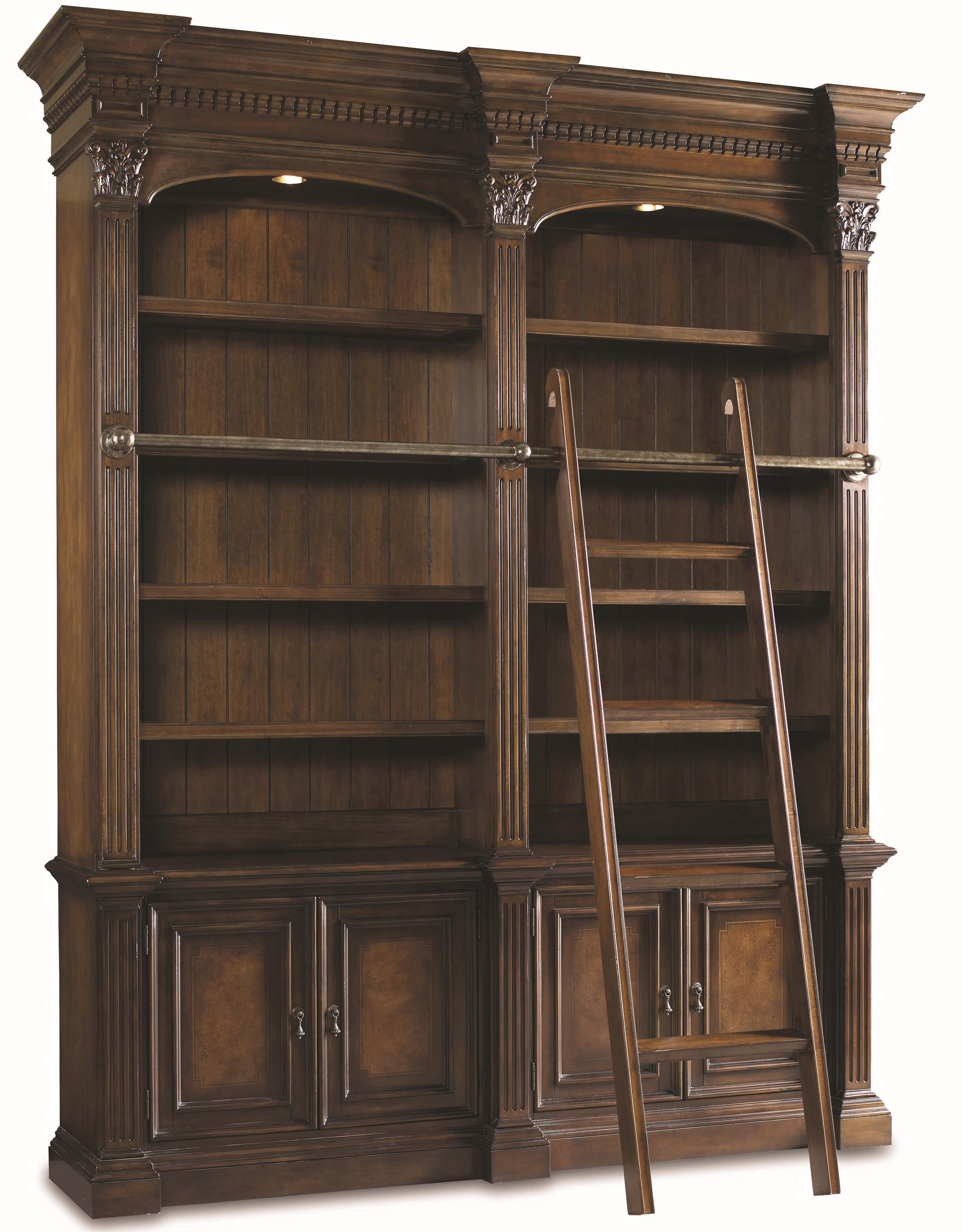 Hooker Furniture European Renaissance II Double Bookcase w/ ladder & rail - Item Number: 374-10-225+465+469+259+256