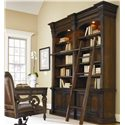 Hooker Furniture European Renaissance II 66-Inch Writing Desk with 3 Drawers - Writing Desk Shown in Room Setting with Open Bookcase, Ladder and Office Desk