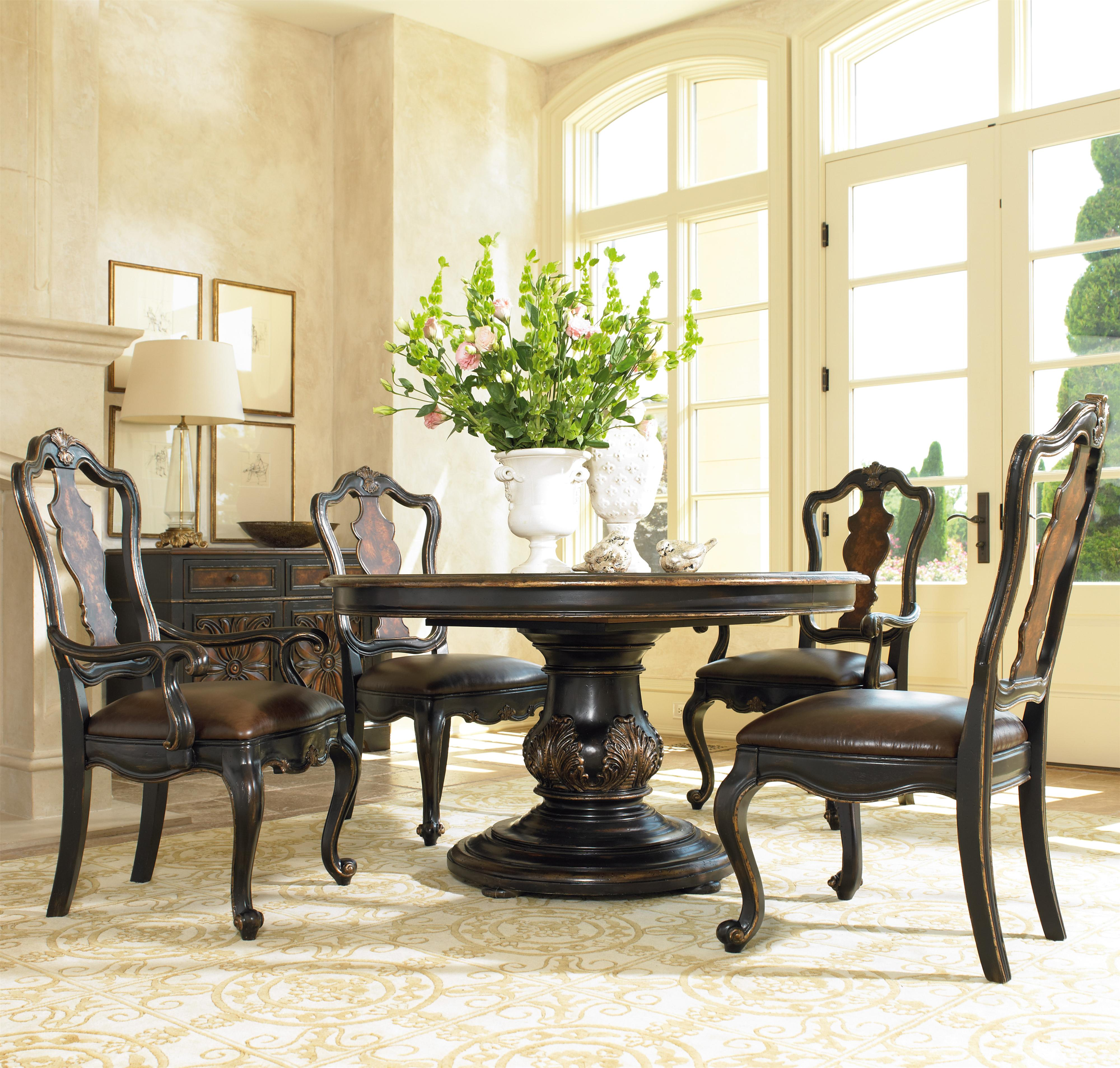 Grandover Five Piece Round Single Pedestal Dining Table Splatback Chairs With Upholstered Seats Set By Hooker Furniture