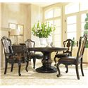 Hooker Furniture Grandover Dining Arm Chair with Decorative Splat Back & Leather-Upholstered Cushion Seat - Shown with Splatback Side Chairs, Pedestal Dining Table, and Accent Chest