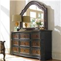 Hooker Furniture Grandover Nine-Drawer Dresser with Center Drop-Front Drawer & Shaped Mirror with Hand-Rubbed Gold Accents Combination