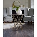 Hooker Furniture Highland Park Round End Table with Modern Base and Gray Marble Top
