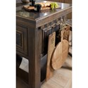 Hooker Furniture Hill Country Dripping Springs Island with Cutting Board and Towel/Utensil Hangers