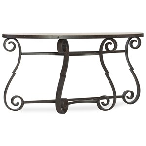 Hooker Furniture Hill Country Luckenbauch Metal and Stone Demilune Console