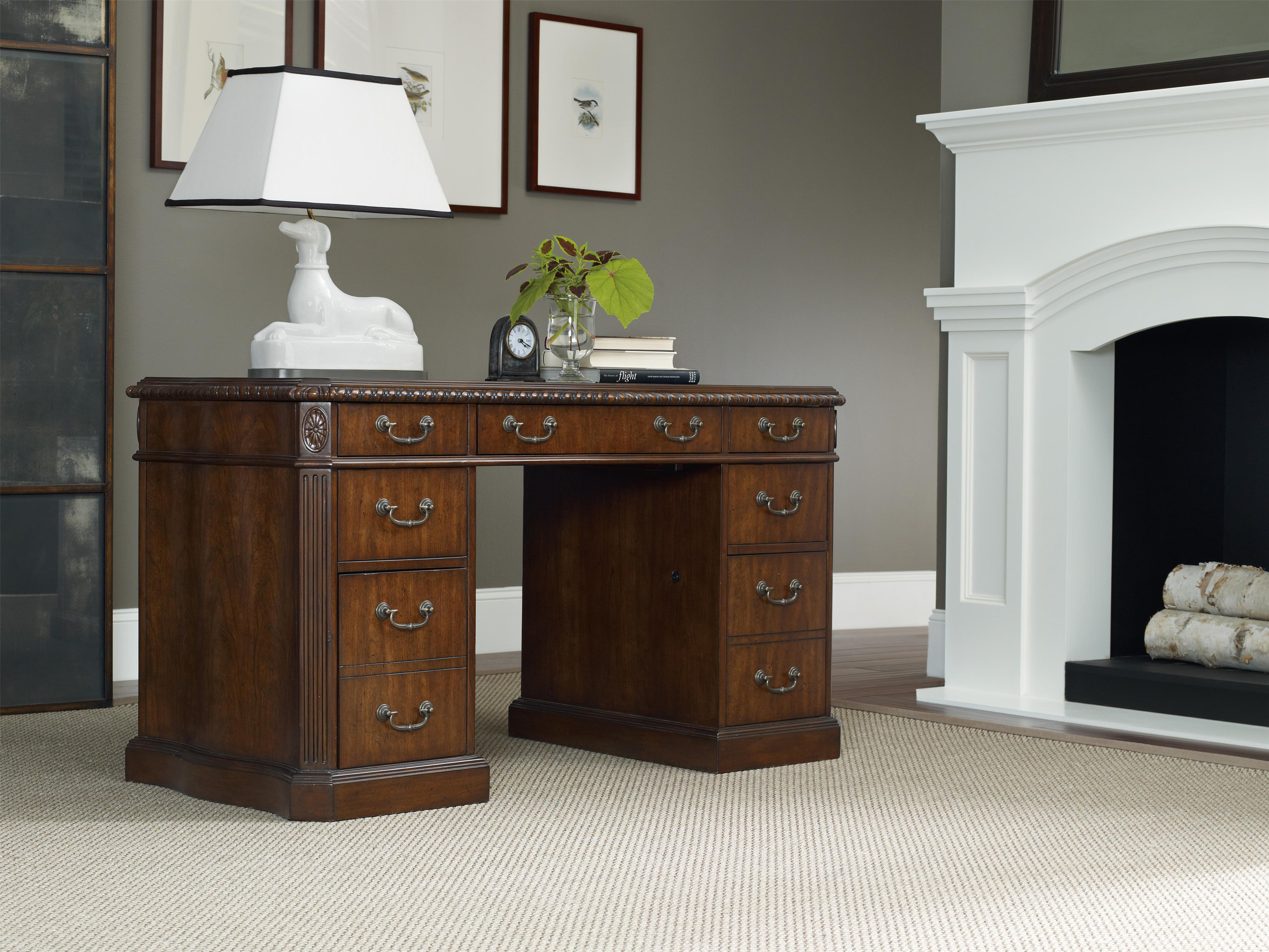 Hooker Furniture Home Office Rope Moulded Double Pedestal Desk With Leather Writing Surface And