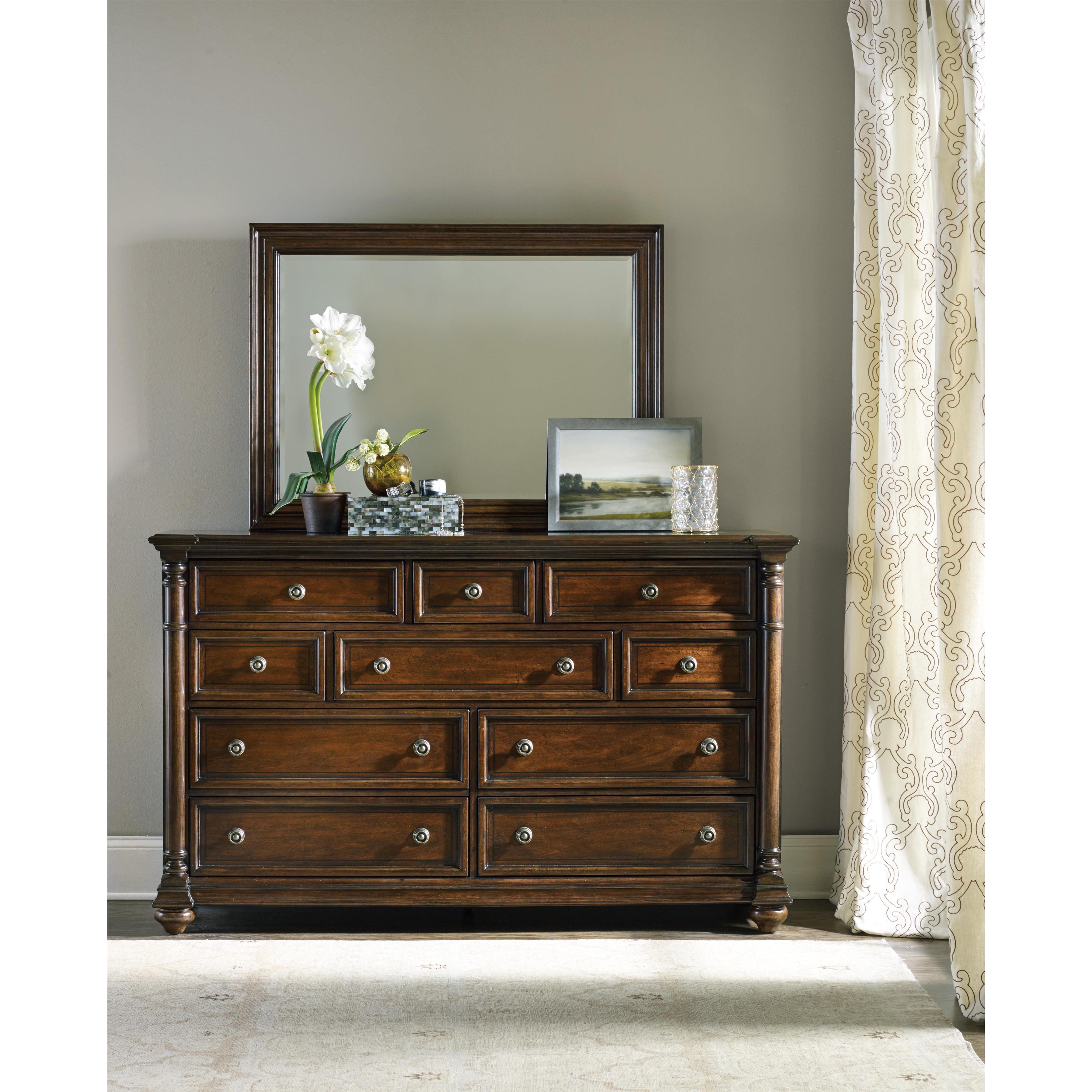Hooker Furniture Leesburg Dresser and Mirror - Item Number: 5381-90002+90008