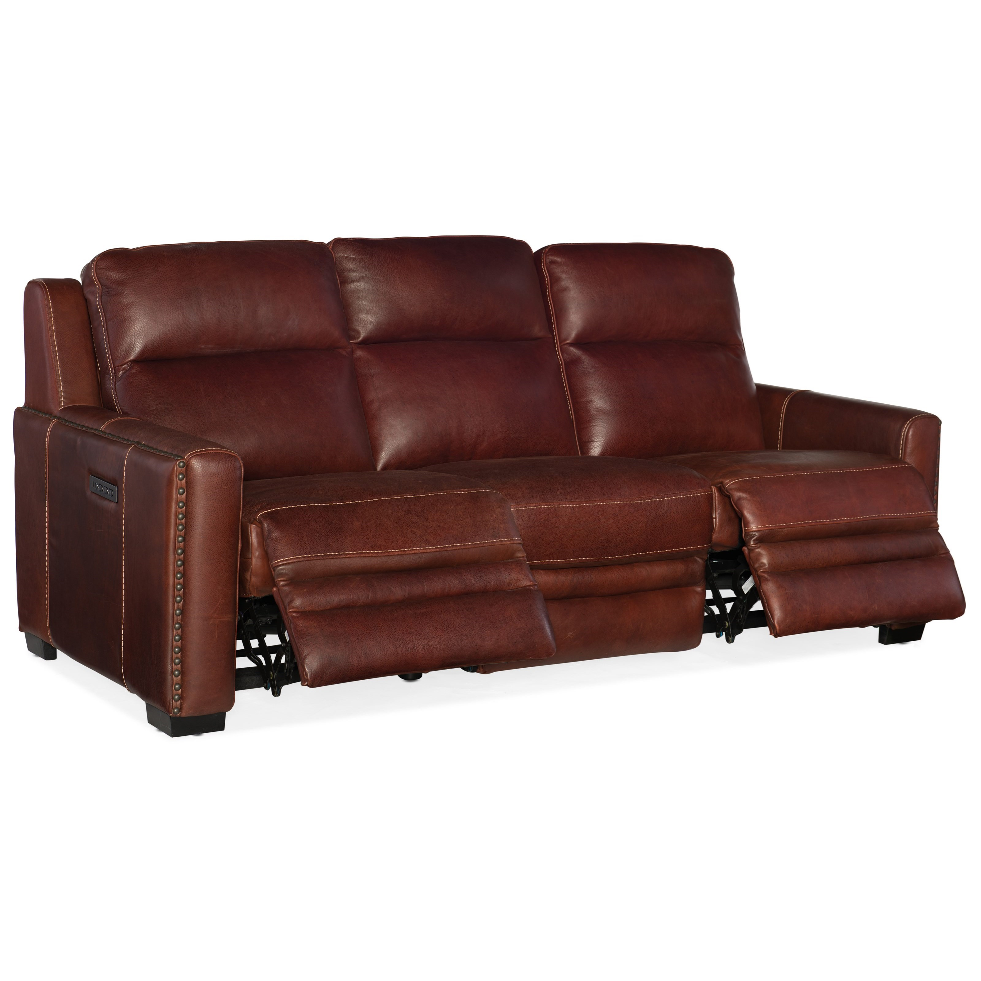 B751 Transitional Reclining Sectional With Storage Console: Hooker Furniture Lincoln SS631-P3-078 Transitional Leather
