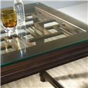 Hooker Furniture Ludlow Modern Table Desk with Glass Top Showing Fretwork Design Below - A Half-Inch Thick Glass Top Allows You to See the Beautiful Fretwork Patter Beneath