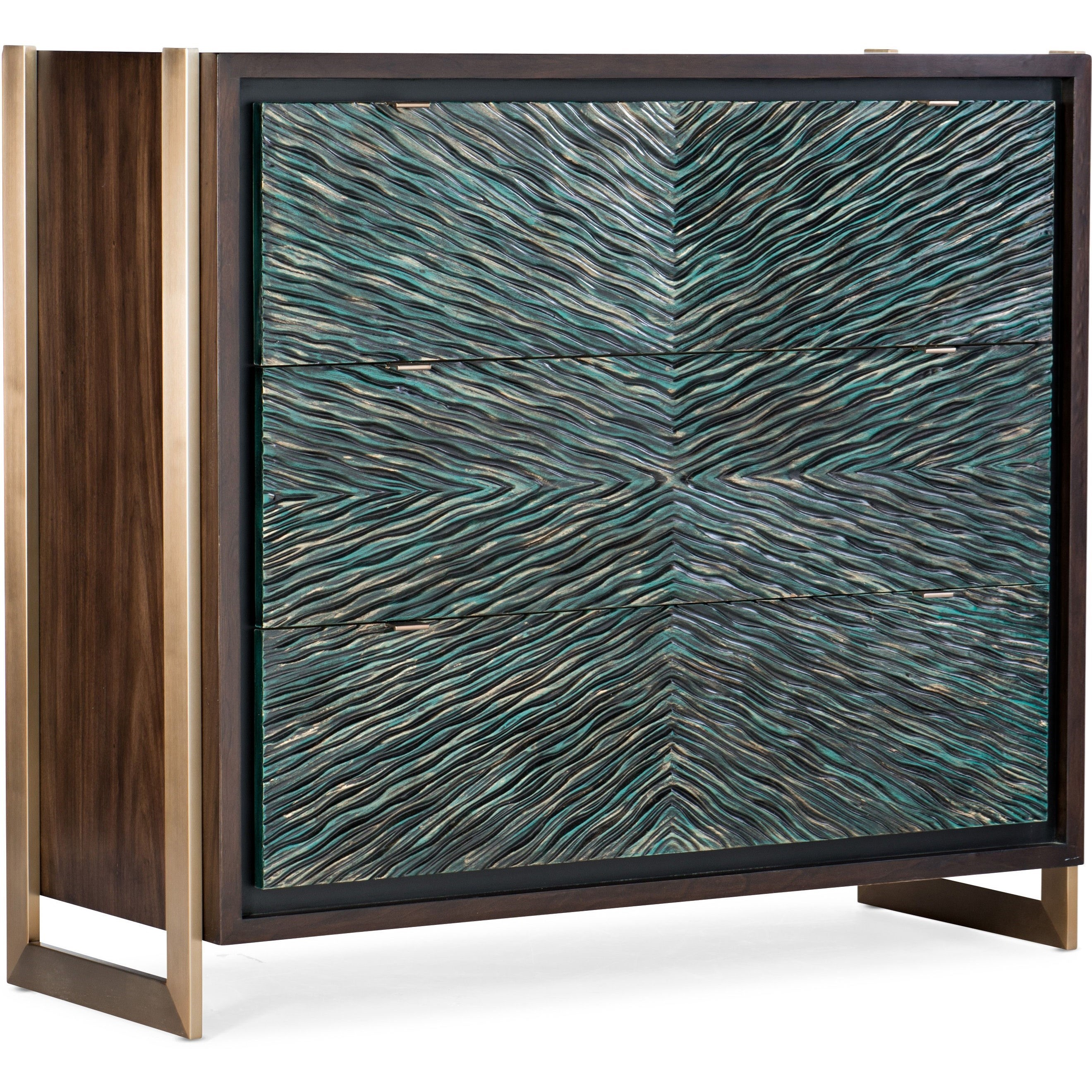 Melange Ophelia Three-Drawer Turquoise Chest by Hooker Furniture at Stoney Creek Furniture
