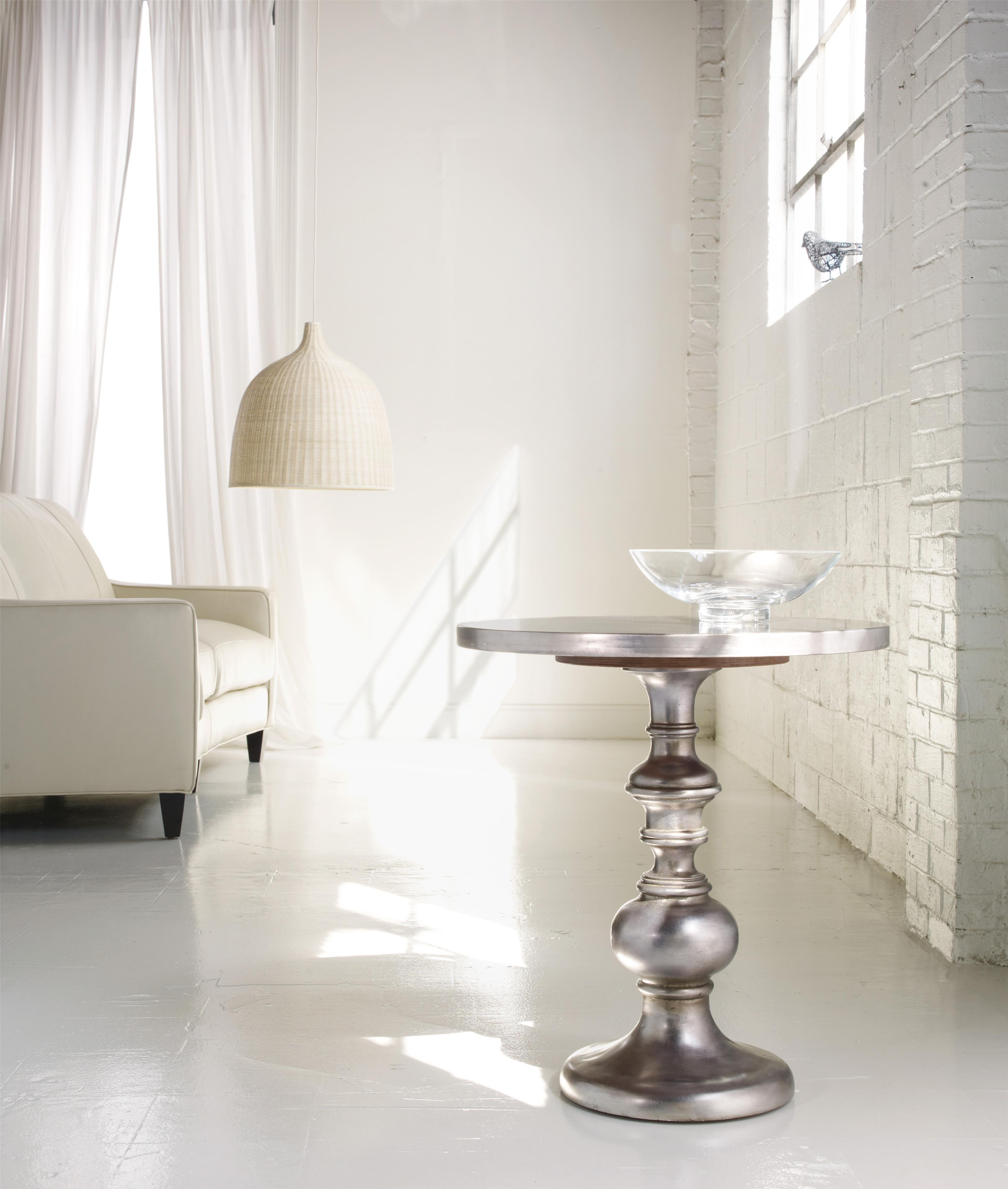 Hooker Furniture M Lange Kenmar Turned Pedestal Table With Iridescent Faux Zinc Finish Zak 39 S