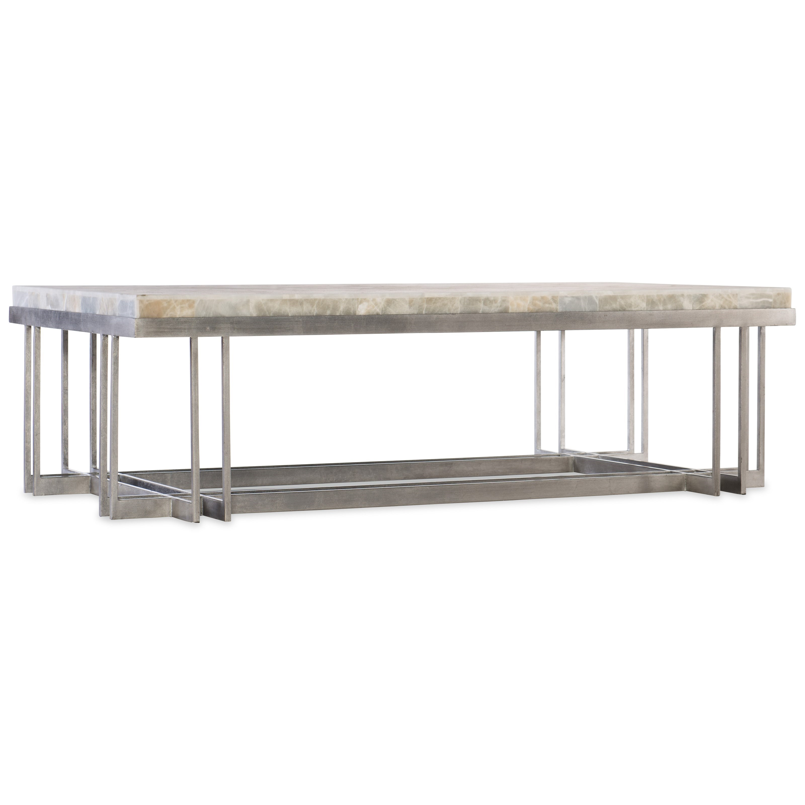 Rectangle Cocktail Table with Metal Base