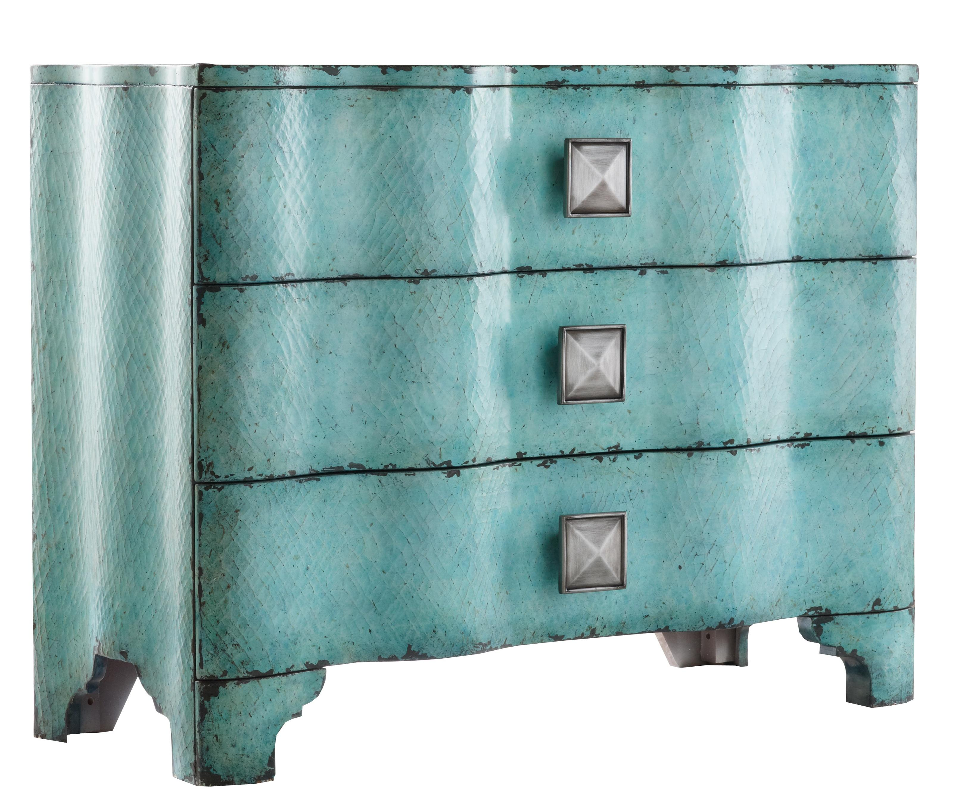 Hooker Furniture Mélange Turquoise Crackle Chest with Rippled Front ...