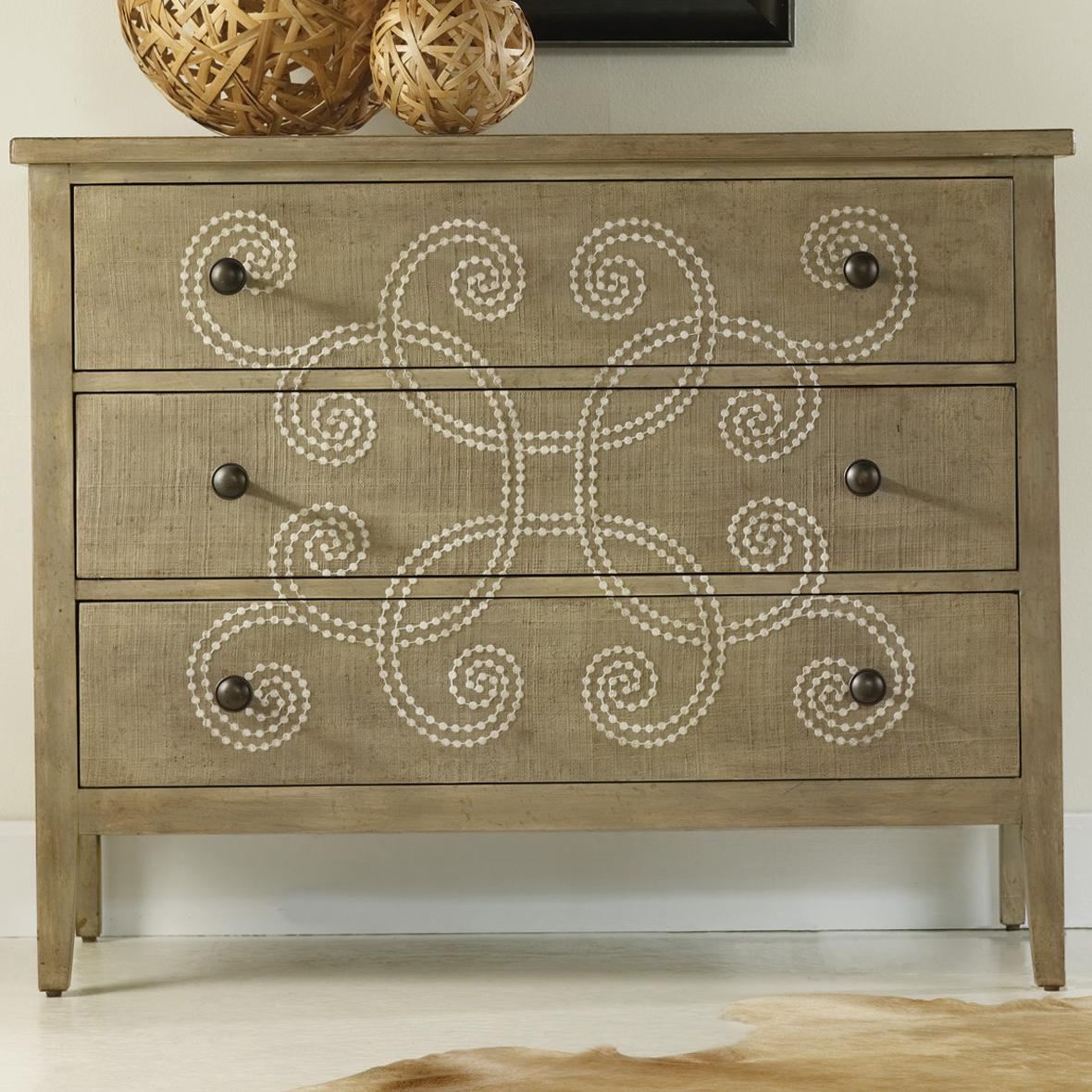 Mélange Three Drawer Curlacue Occasional Accent Chest With Decorative  Raffia U0026 Paint Accents By Hooker Furniture