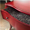 Hooker Furniture Mélange 3-Drawer Red Caliente Chest with Shaped Legs & Base and Patterened Drawer Lining - 638-85045 - Decorative Drawer Lining Makes Accents Beautifully Against the Red Finish of the Chest