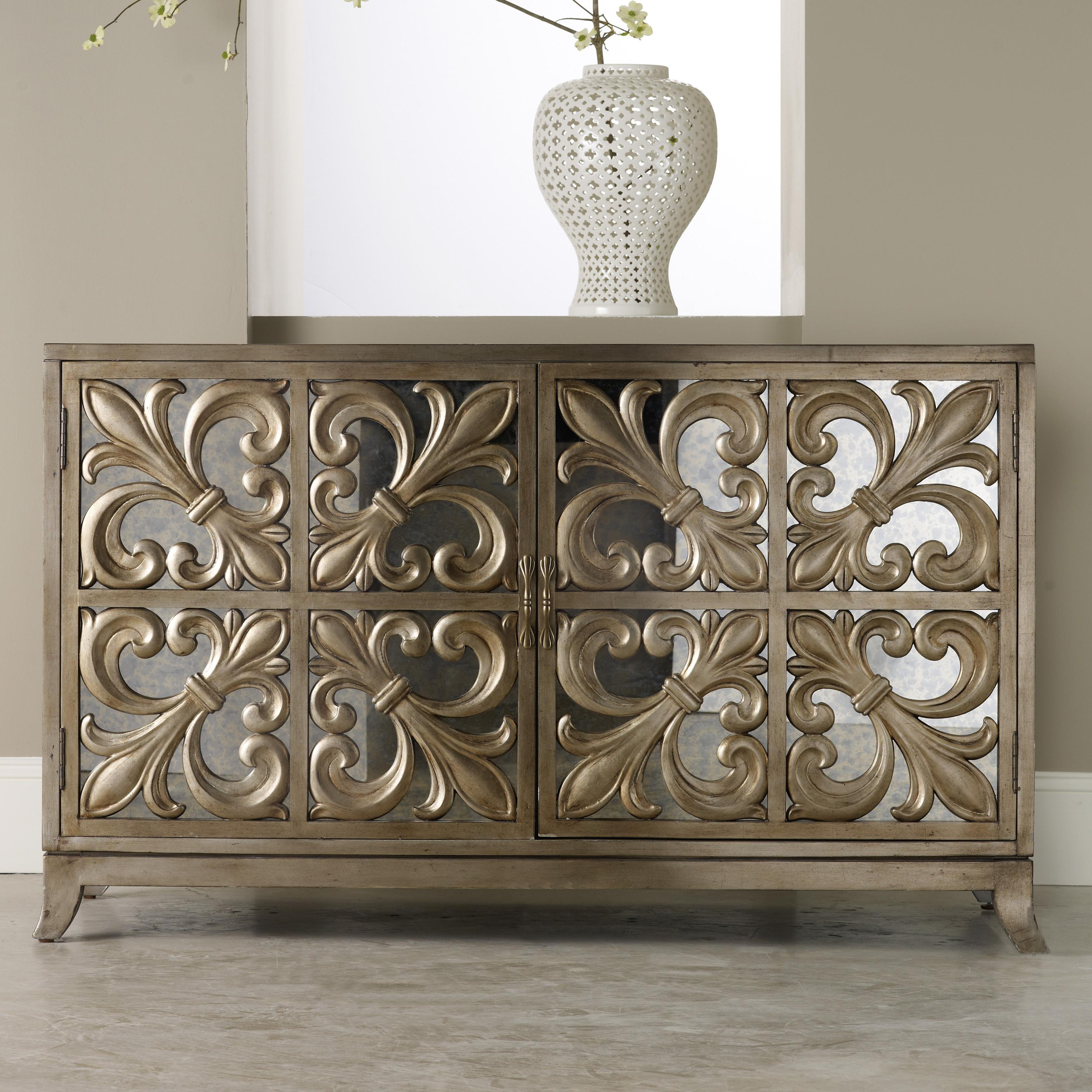 Hooker Furniture Mélange Fleur-de-lis Mirrored Credenza - Item Number: 638-85057