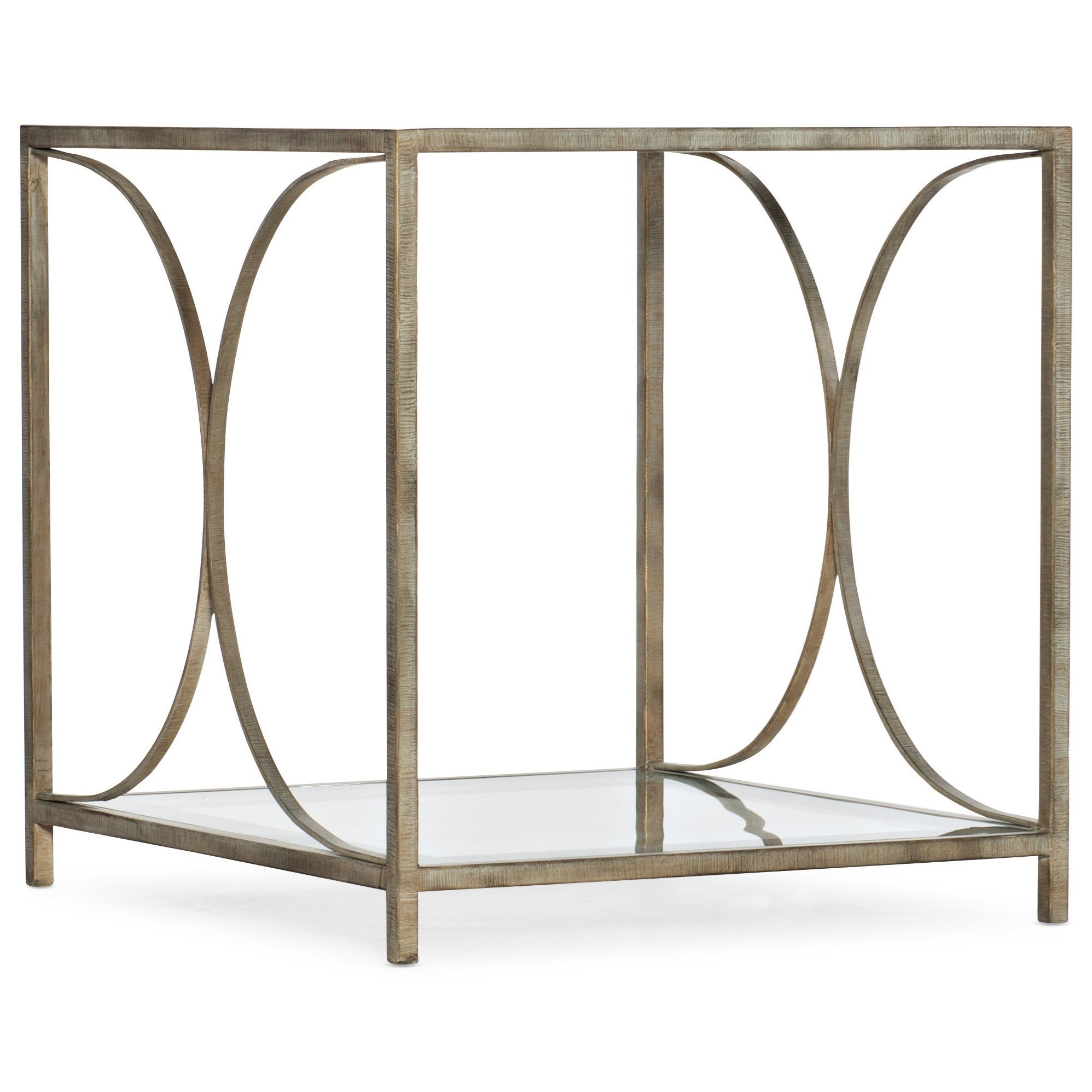 Novella Wavecrest Metal and Glass End Table by Hooker Furniture at Stoney Creek Furniture