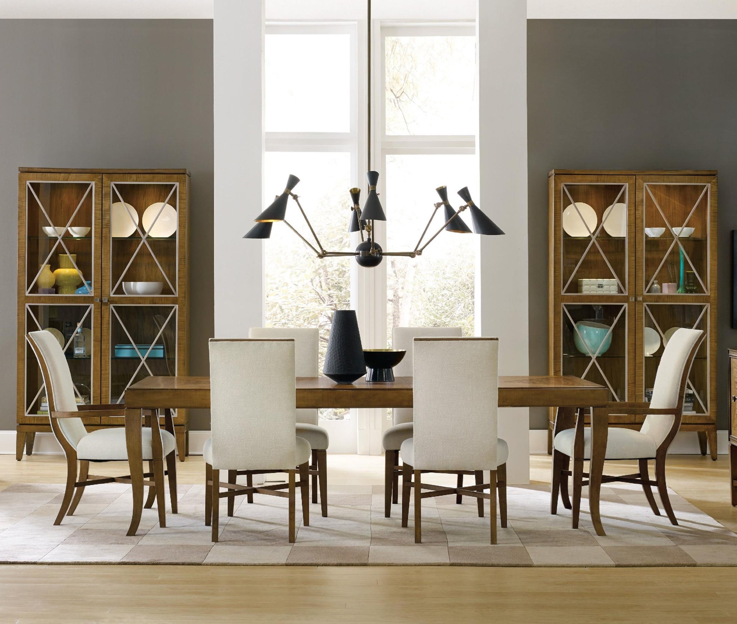 Hooker Furniture Retropolitan 7 Piece Table & Chair Set - Item Number: 5510-75200-MWD+2x75500+4x75510