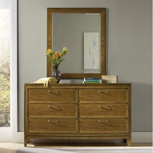 Hooker Furniture Retropolitan 6 Drawer Dresser and Mirror