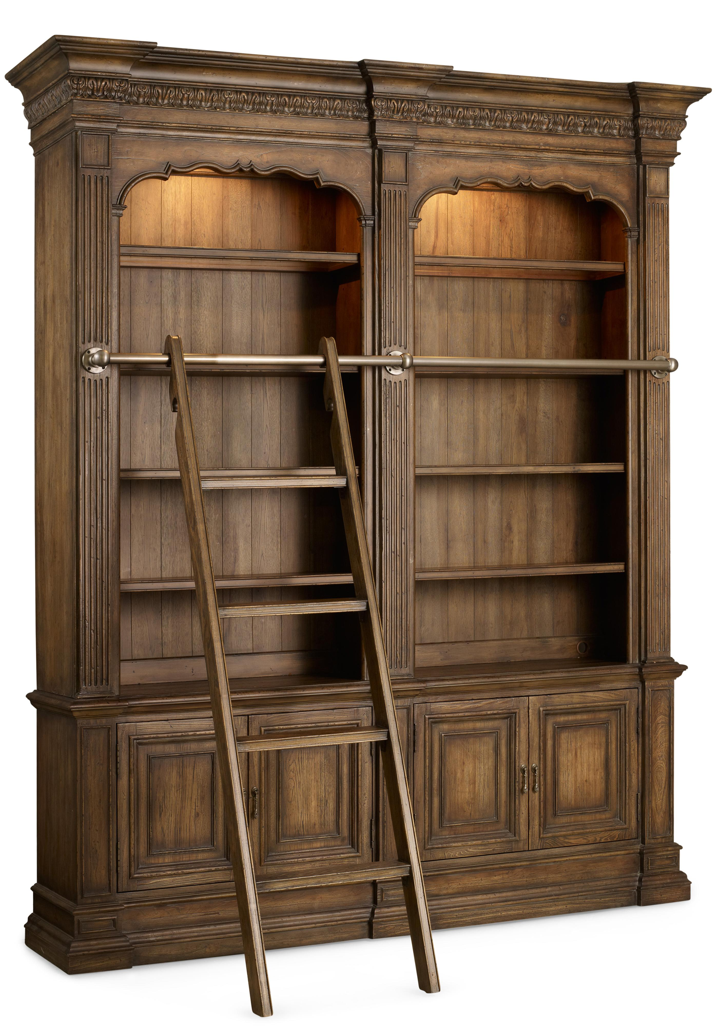Hooker Furniture Rhapsody Double Bookcase with Ladder and Rail  - Item Number: 5070-10225