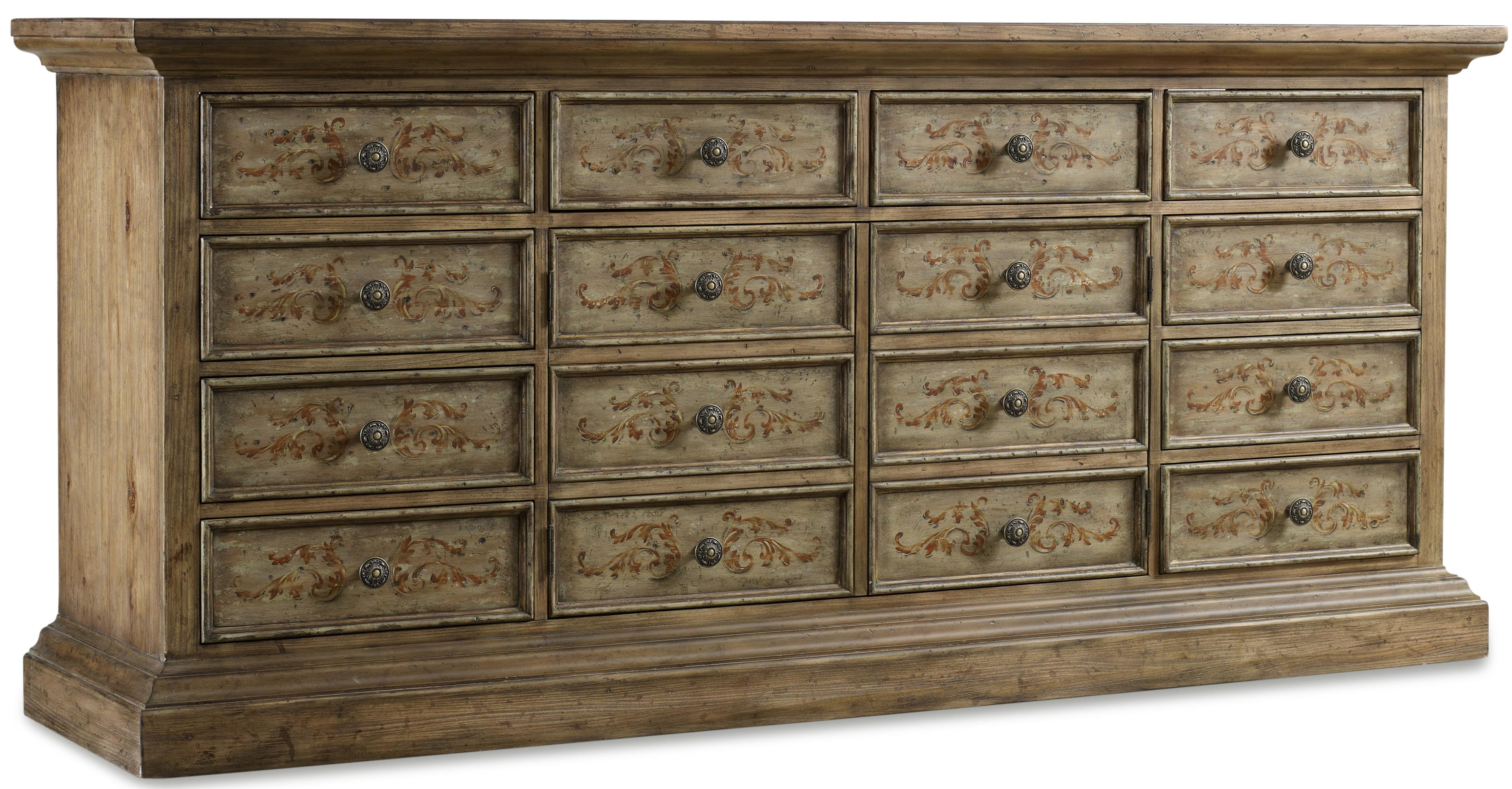 hooker furniture rhapsody handpainted ten drawer chest with wine