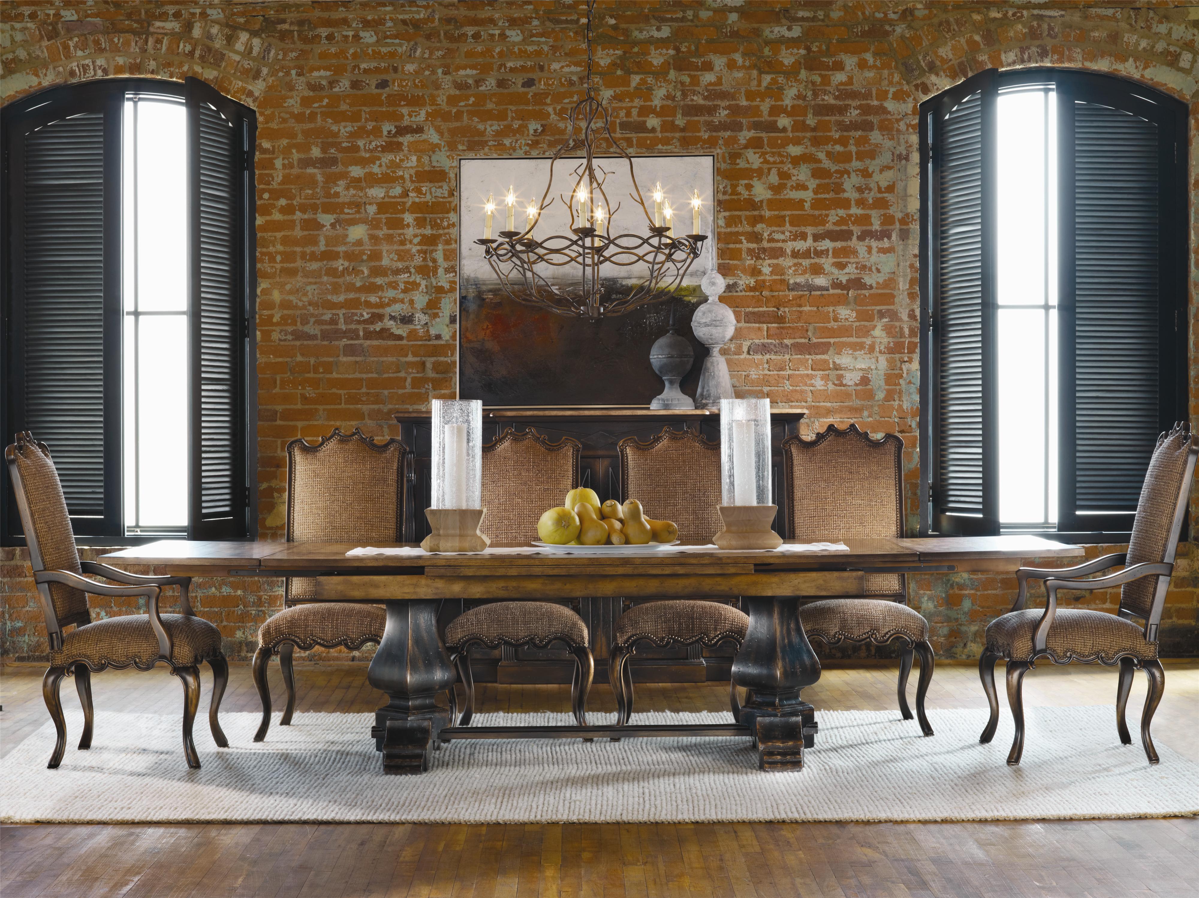 Hooker Furniture Sanctuary 7 Piece Table & Chair Set - Item Number: 3005-75207+2x200-351257+4x351258