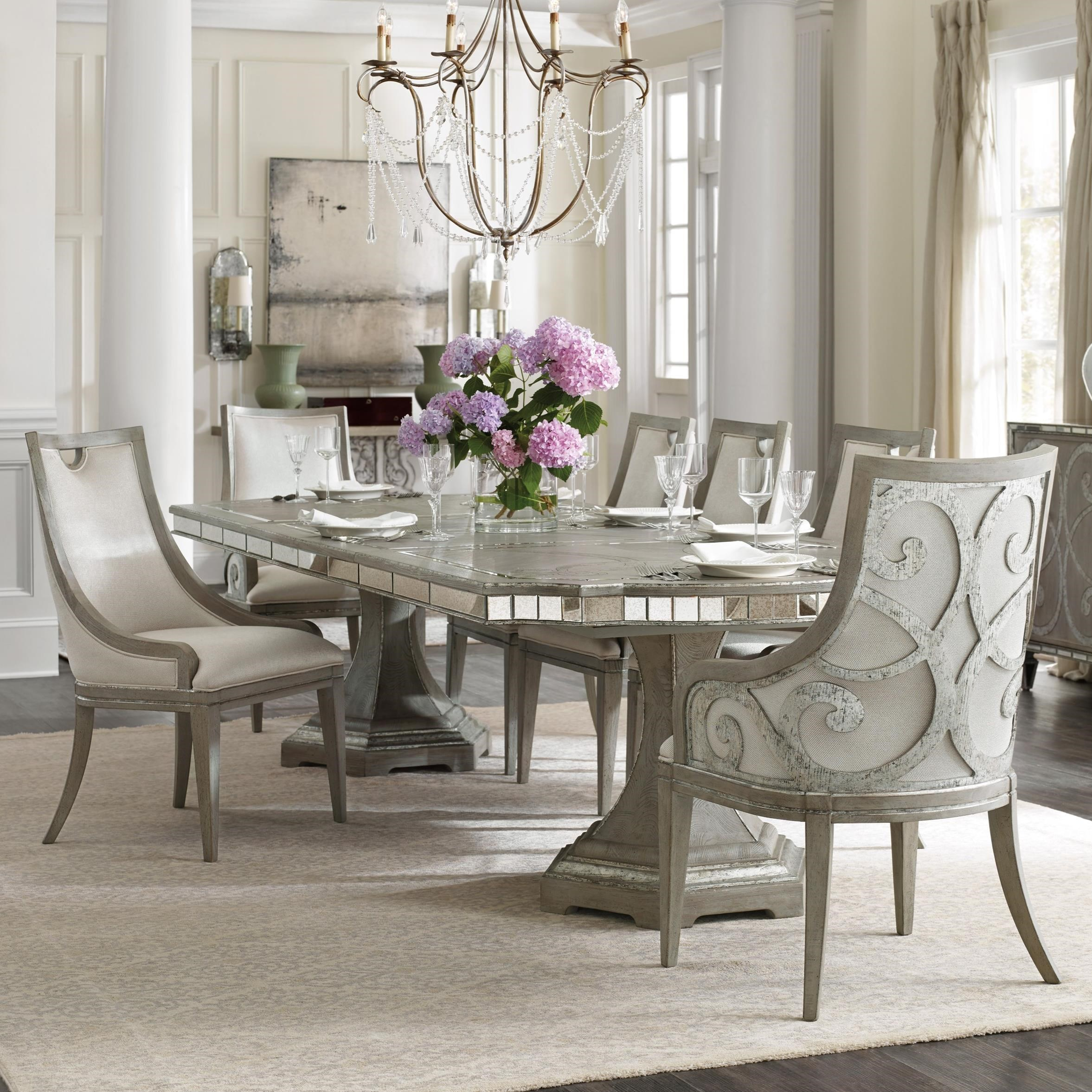 Hooker Furniture Sanctuary 5603 75200 Ltbr 2x75400 Ltbr 4x7541 Transitional 7 Piece Dining Set O Dunk O Bright Furniture Dining 7 Or More Piece Sets