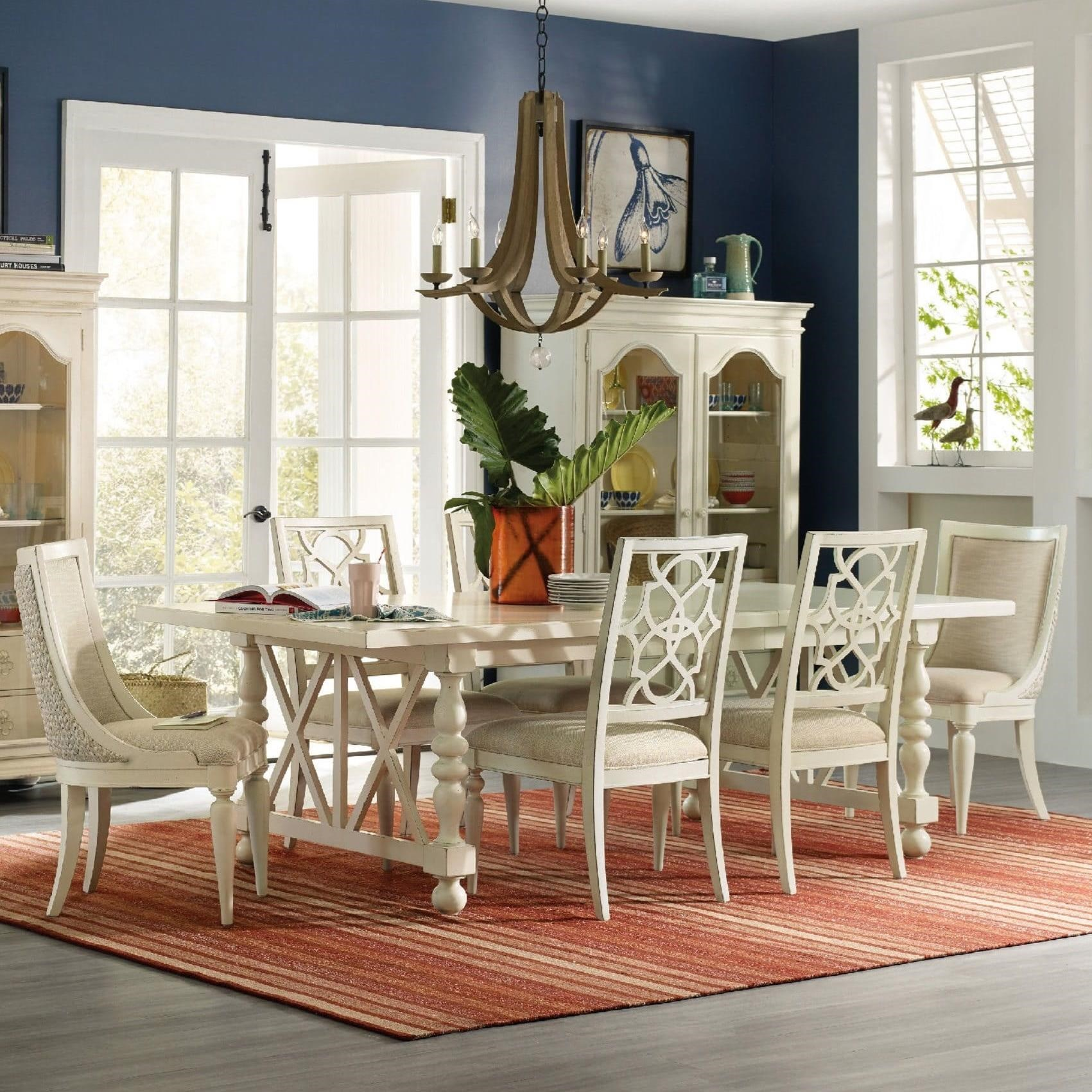Hooker Furniture Sandcastle 7 Piece Dining Set - Item Number: 5900-75200+2x510+4x410-WH