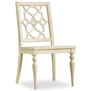Hooker Furniture Sandcastle Fretback Side Chair - Wood Seat