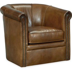 Axton Swivel Leather Club Chair