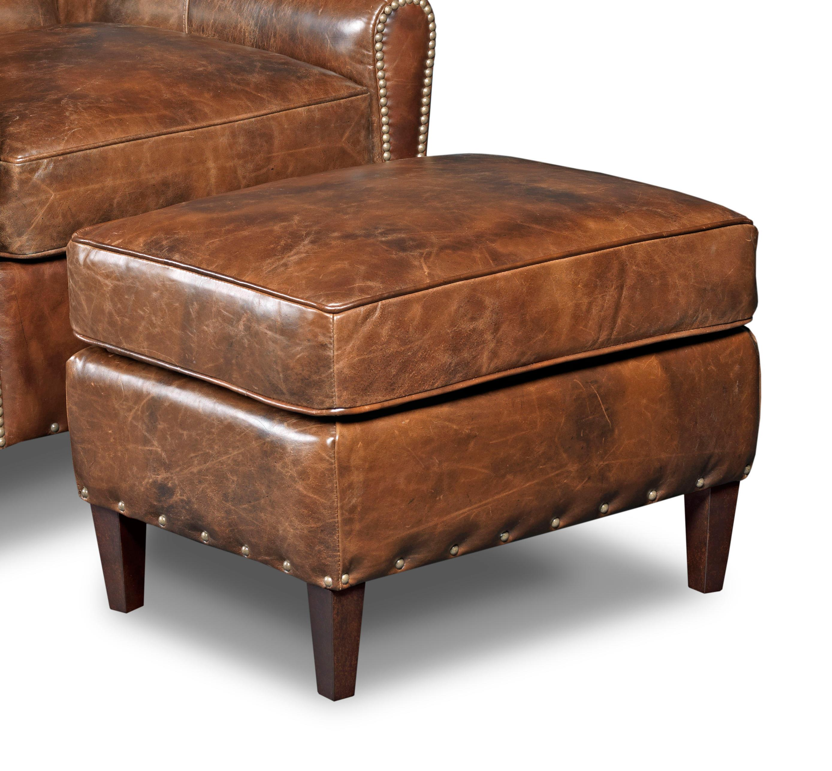 Hooker Furniture Club Chairs Transitional Ottoman with Nailhead