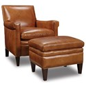 Hooker Furniture Club Chairs Traditional Ottoman with Nailhead Trim