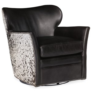 Kato Leather Swivel Chair with Hair on Hide