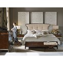 Hooker Furniture Skyline Queen Upholstered Panel Bed with Button Tufting