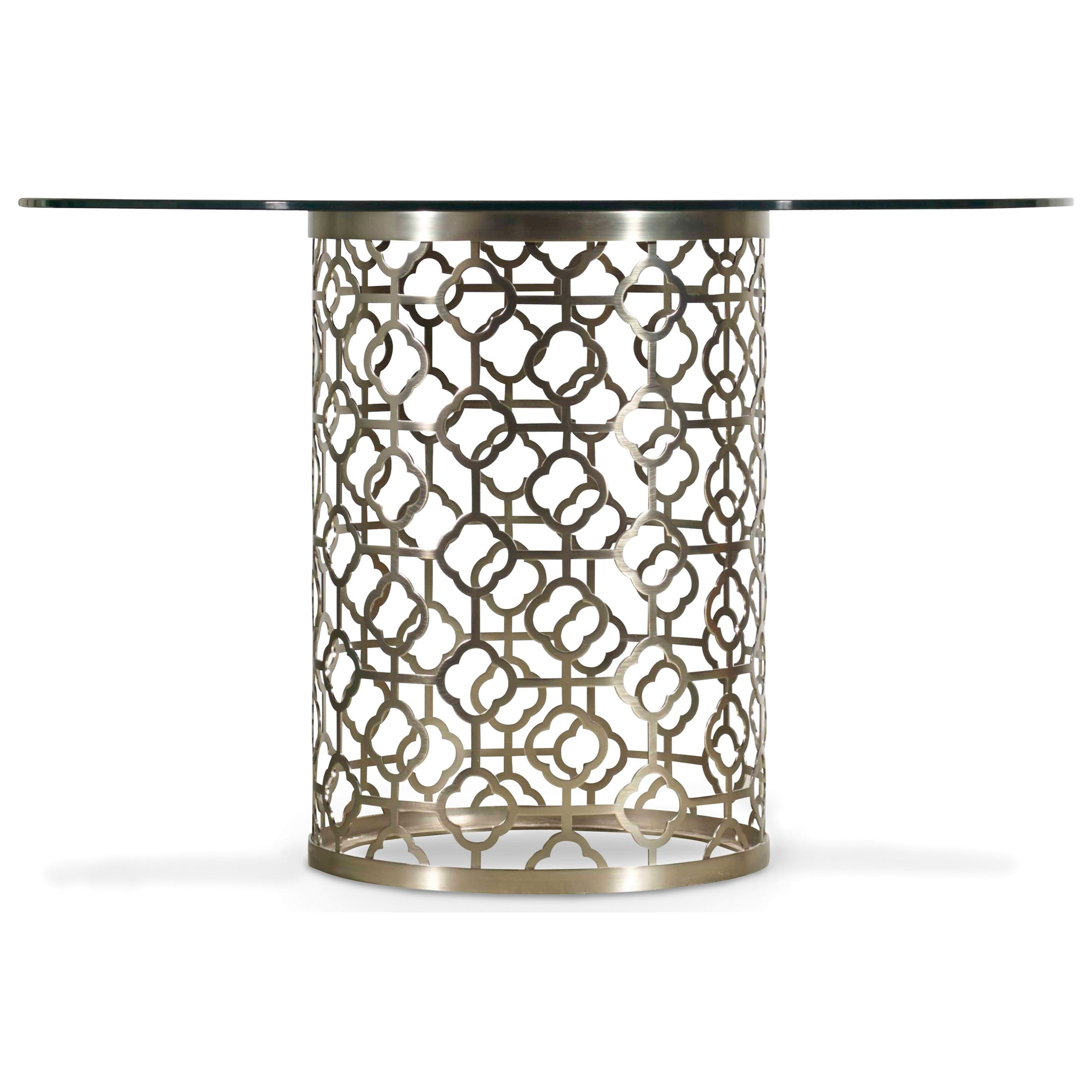 Hooker Furniture Skyline Round Glass Top Dining Table With Plated Metal Base Dunk Bright