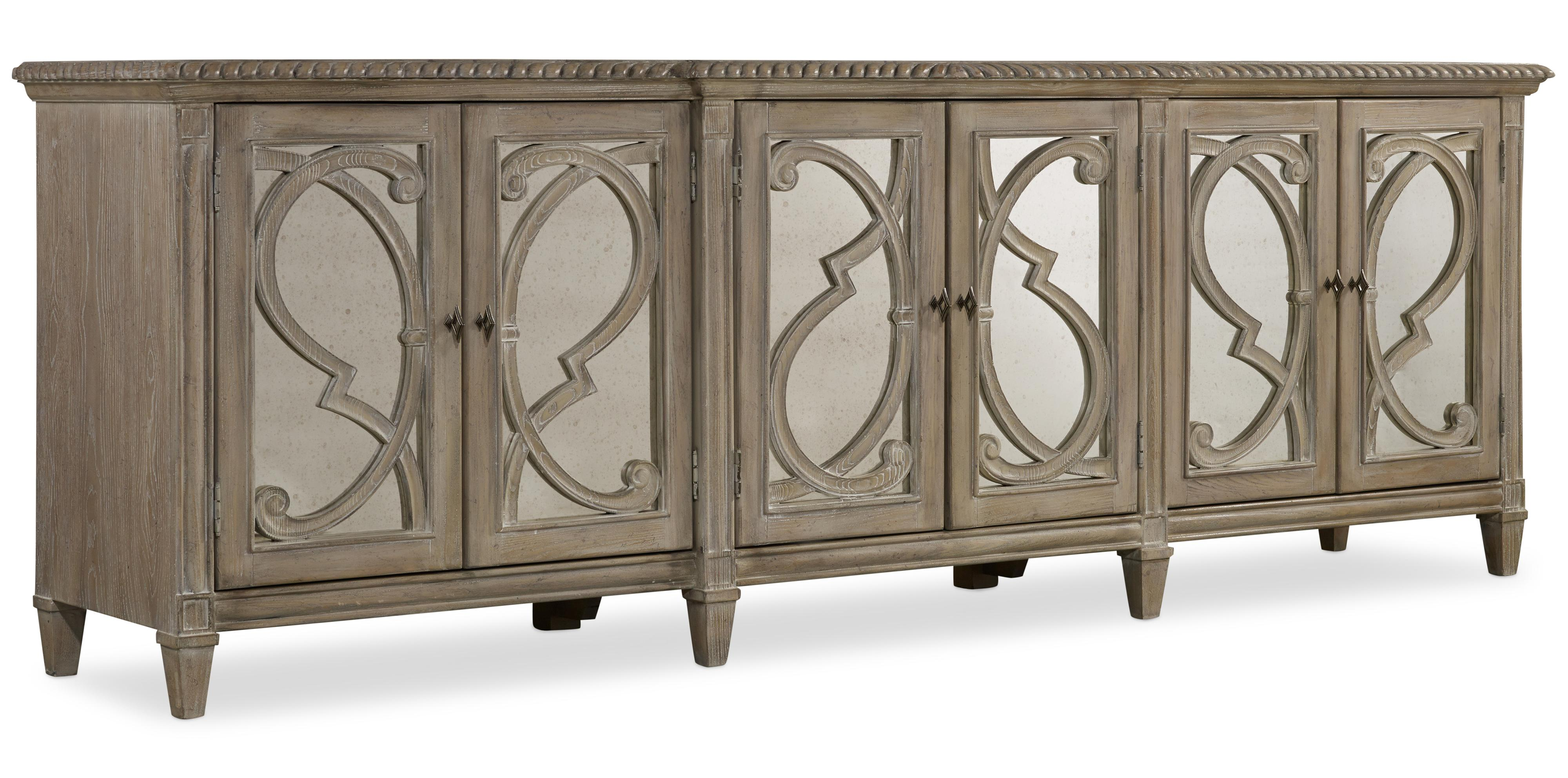 Hooker Furniture Solana 5591 85001 Console With 6 Glass Doors And Decorative Wood Overlay Baer