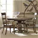 Hooker Furniture Sorella Pedestal Table and Ladderback Chair Set - Item Number: 5107-75203+2x75300+2x75310